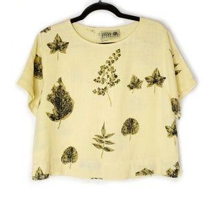 Vintage Linen Leaf Pattern Yellow Green Crop Top